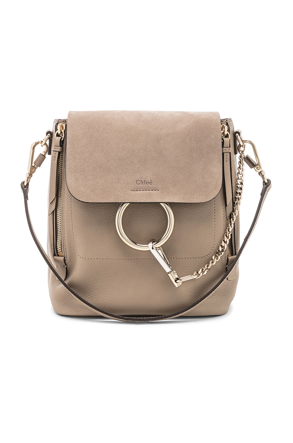 Image 1 of Chloe Small Faye Calfskin & Suede Backpack in Motty Grey