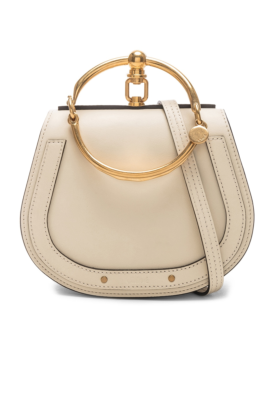 Image 1 of Chloe Small Nile Bracelet Bag Calfskin & Suede in Off White