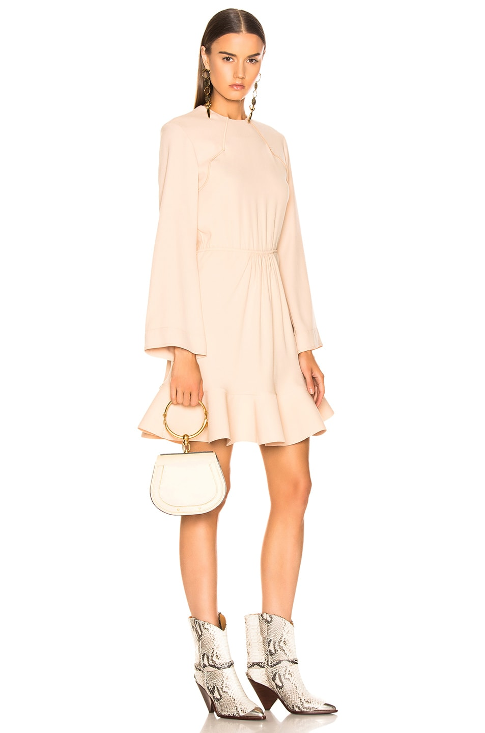 Image 2 of Chloe Small Nile Bracelet Bag Calfskin & Suede in Off White