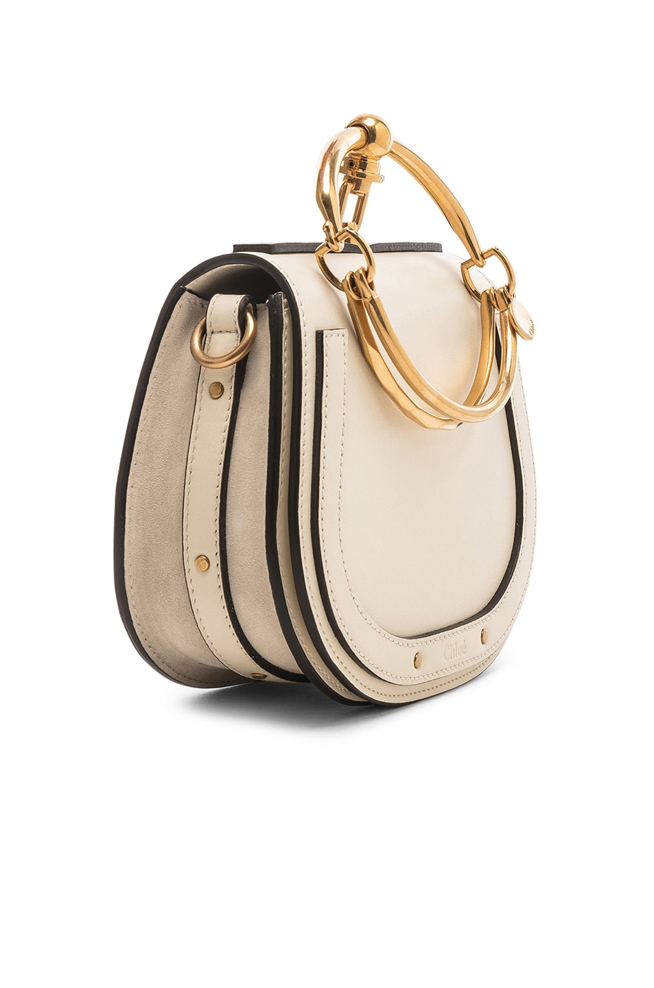 Image 4 of Chloe Small Nile Bracelet Bag Calfskin & Suede in Off White