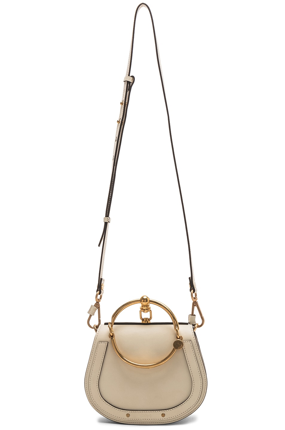 Image 6 of Chloe Small Nile Bracelet Bag Calfskin & Suede in Off White