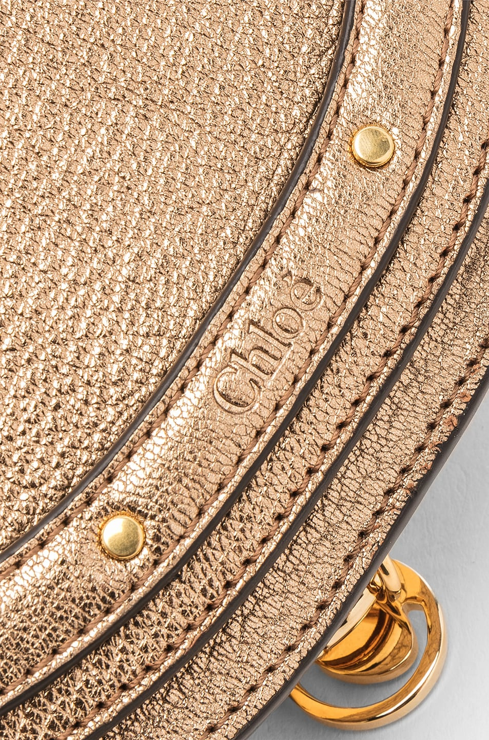 Image 7 of Chloe Small Nile Leather Metallic Minaudiere in Gold