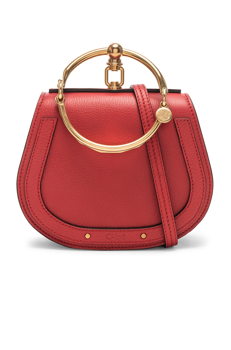 Image 1 of Chloe Small Nile Bracelet Bag Calfskin & Suede in Plaid Red
