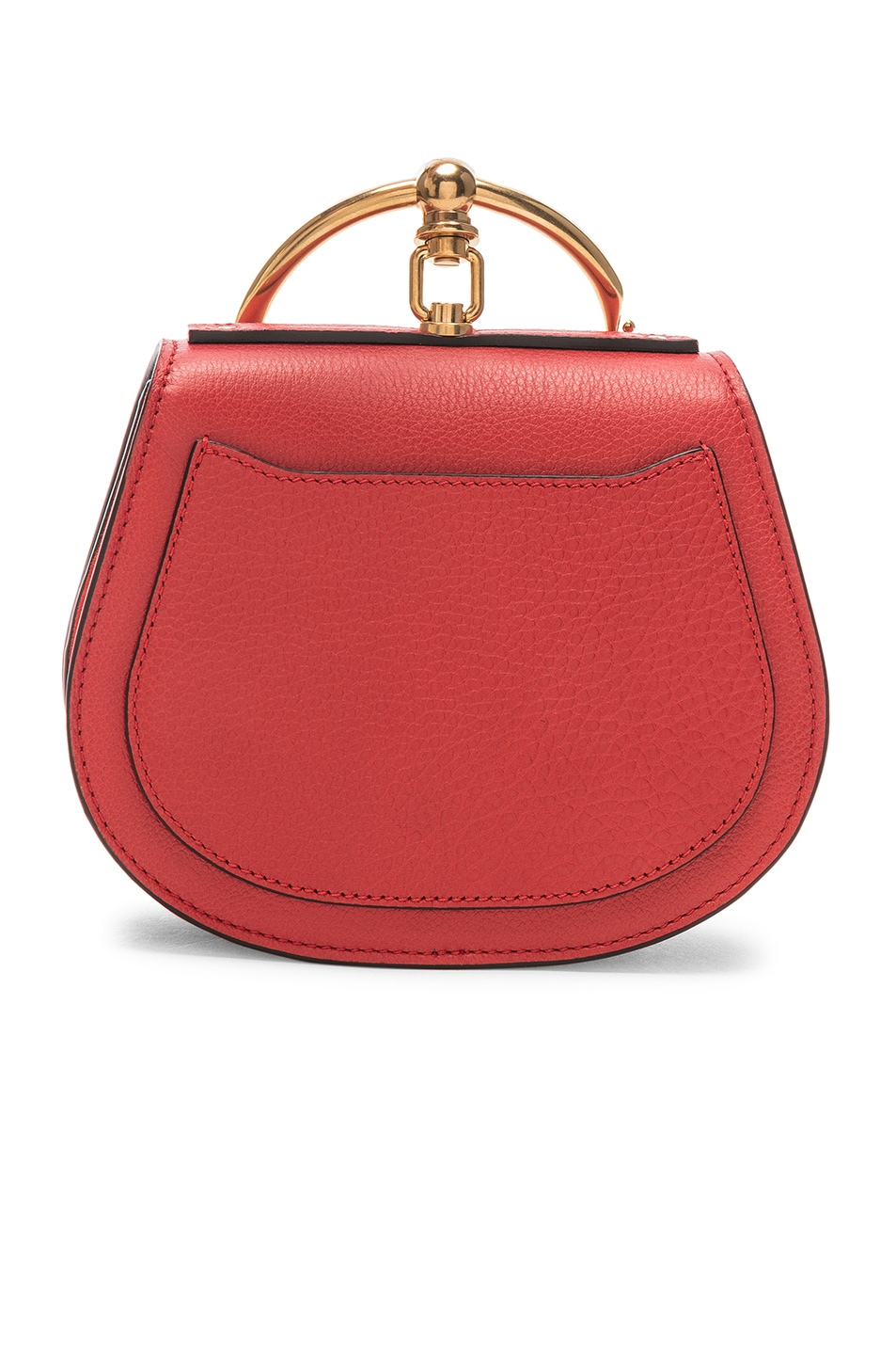 Image 3 of Chloe Small Nile Bracelet Bag Calfskin & Suede in Plaid Red
