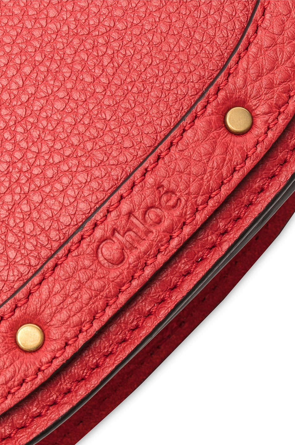 Image 7 of Chloe Small Nile Bracelet Bag Calfskin & Suede in Plaid Red