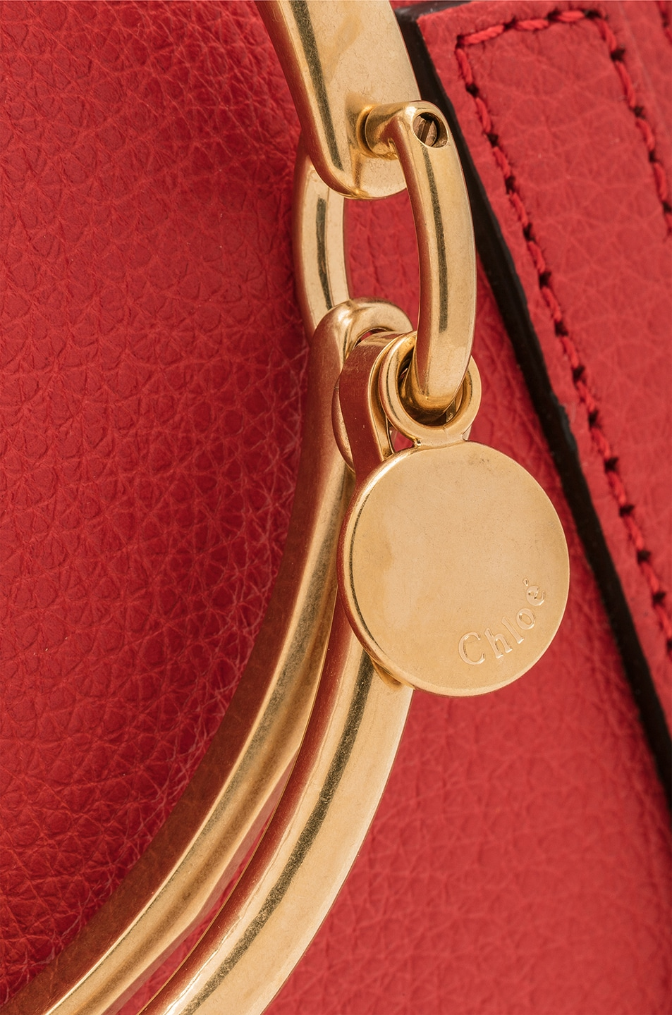 Image 8 of Chloe Small Nile Bracelet Bag Calfskin & Suede in Plaid Red