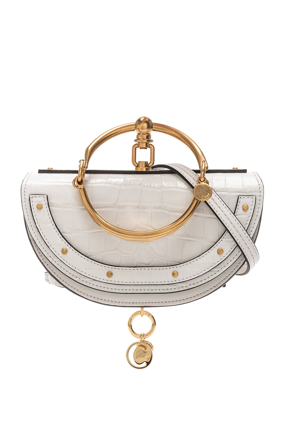 Image 1 of Chloe Small Nile Embossed Minaudiere in Brilliant White