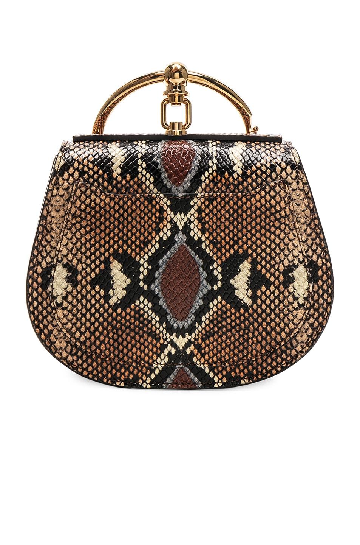 Image 3 of Chloe Nile Small Python Print Bracelet Bag in Caramel