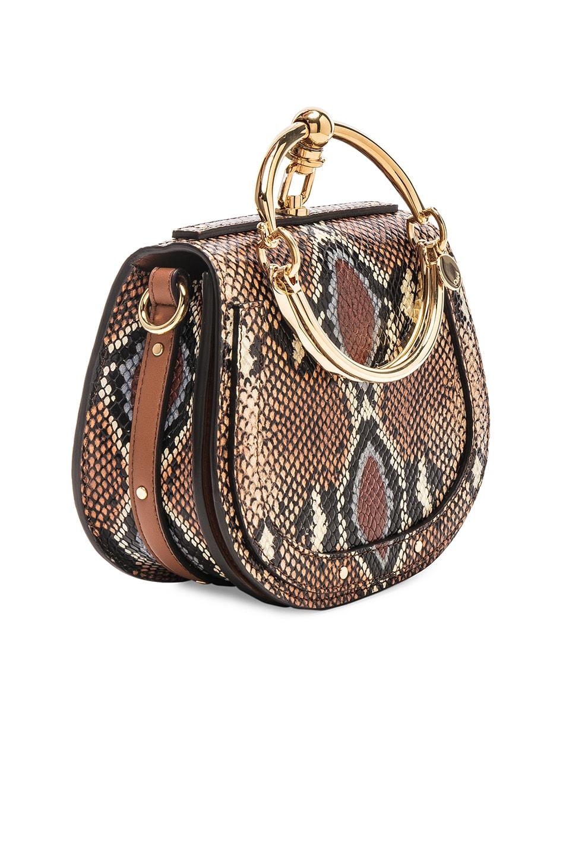Image 4 of Chloe Nile Small Python Print Bracelet Bag in Caramel