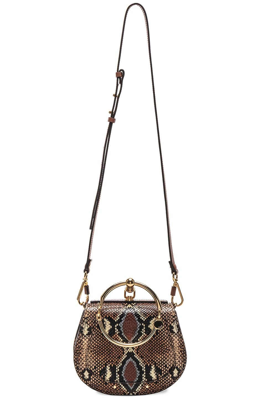 Image 6 of Chloe Nile Small Python Print Bracelet Bag in Caramel