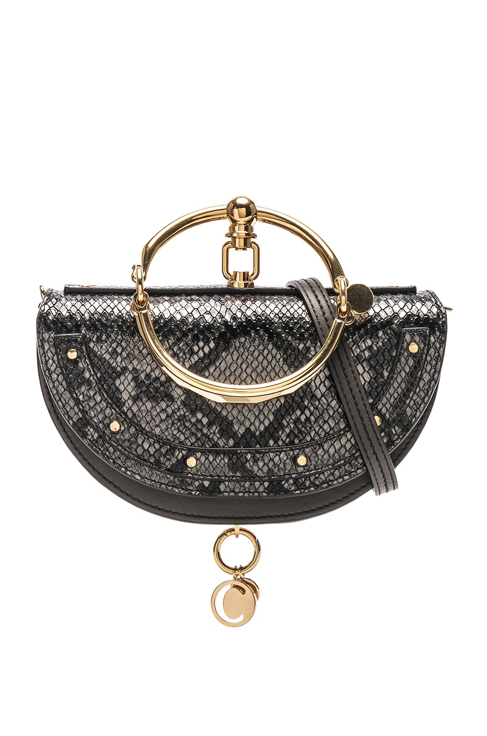 Image 1 of Chloe Small Nile Leather Python Print Minaudiere in Profound Brown