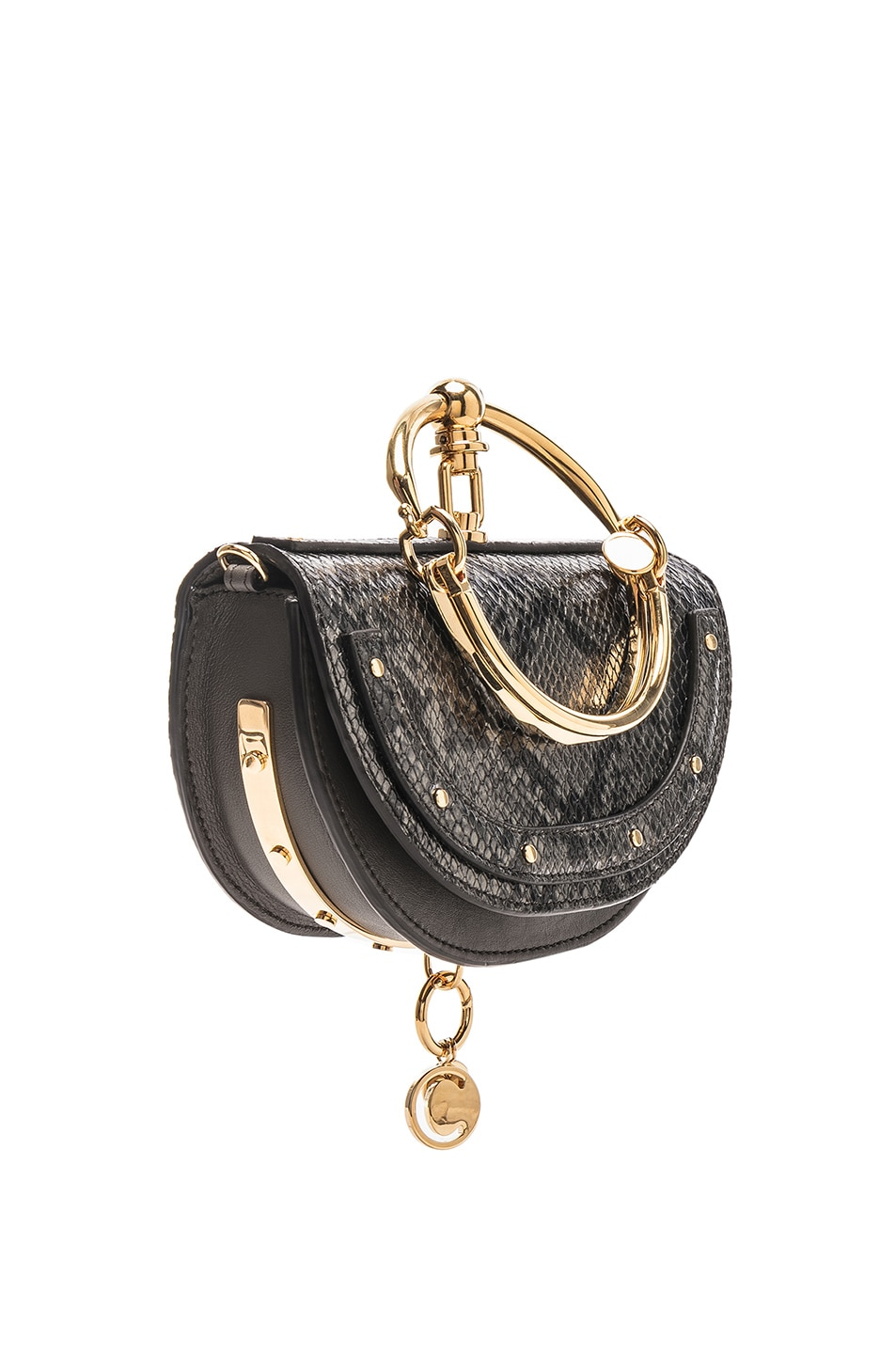 Image 4 of Chloe Small Nile Leather Python Print Minaudiere in Profound Brown