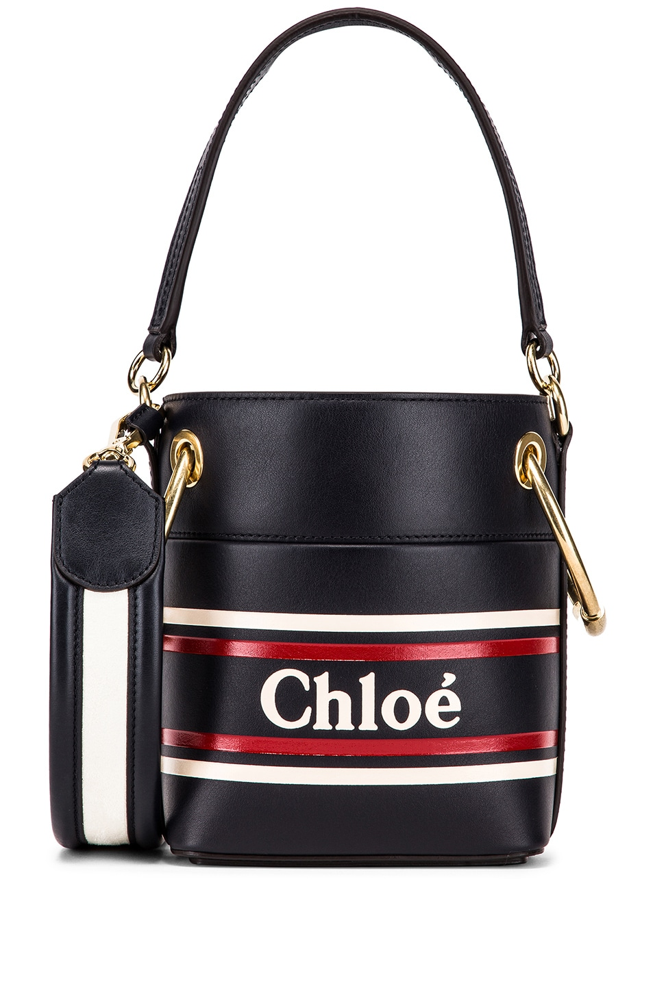 Image 1 of Chloe Roy Bucket Logo & Stripe Shoulder Bag in Full Blue
