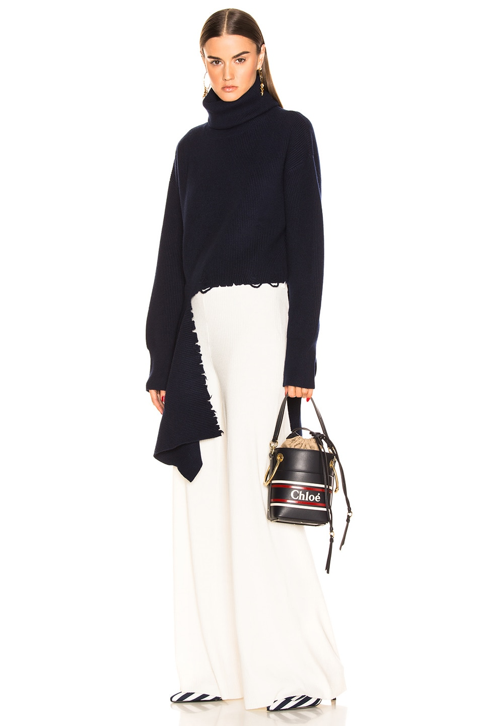 Image 2 of Chloe Roy Bucket Logo & Stripe Shoulder Bag in Full Blue