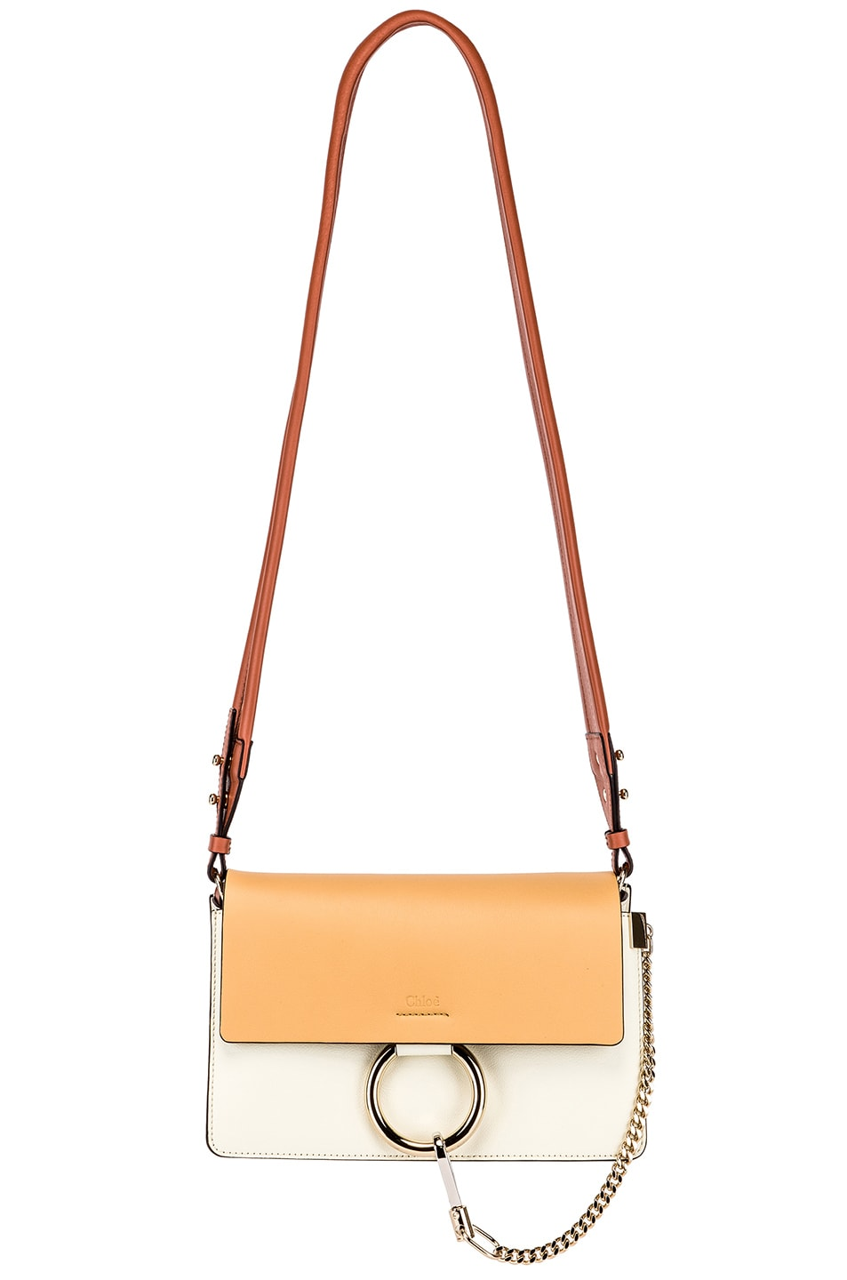 Image 6 of Chloe Small Faye Bag in Brown & White