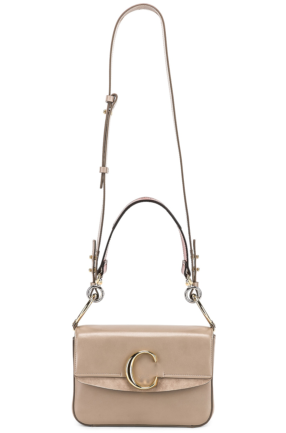 Image 6 of Chloe Chloe C Small Suede-Trimmed Leather Shoulder Bag in Motty Grey