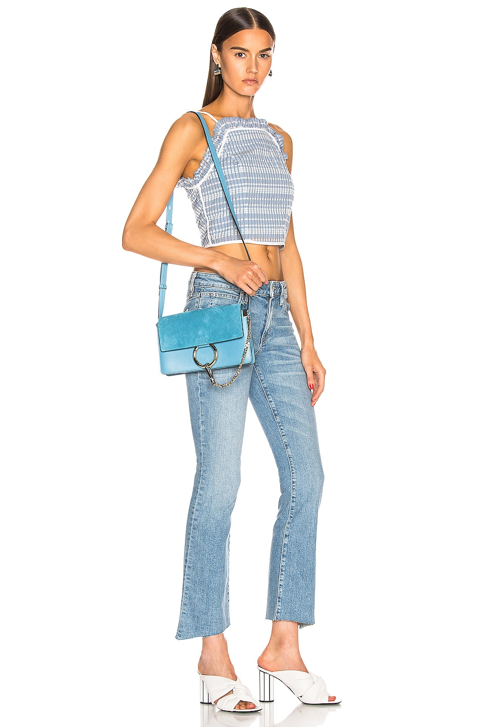 Image 2 of Chloe Small Faye Suede & Calfskin Shoulder Bag in Tomboy Blue