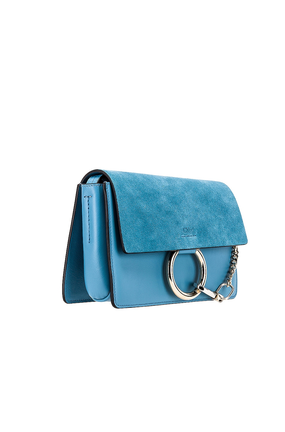 Image 4 of Chloe Small Faye Suede & Calfskin Shoulder Bag in Tomboy Blue