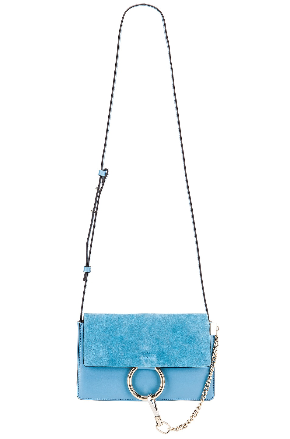 Image 6 of Chloe Small Faye Suede & Calfskin Shoulder Bag in Tomboy Blue