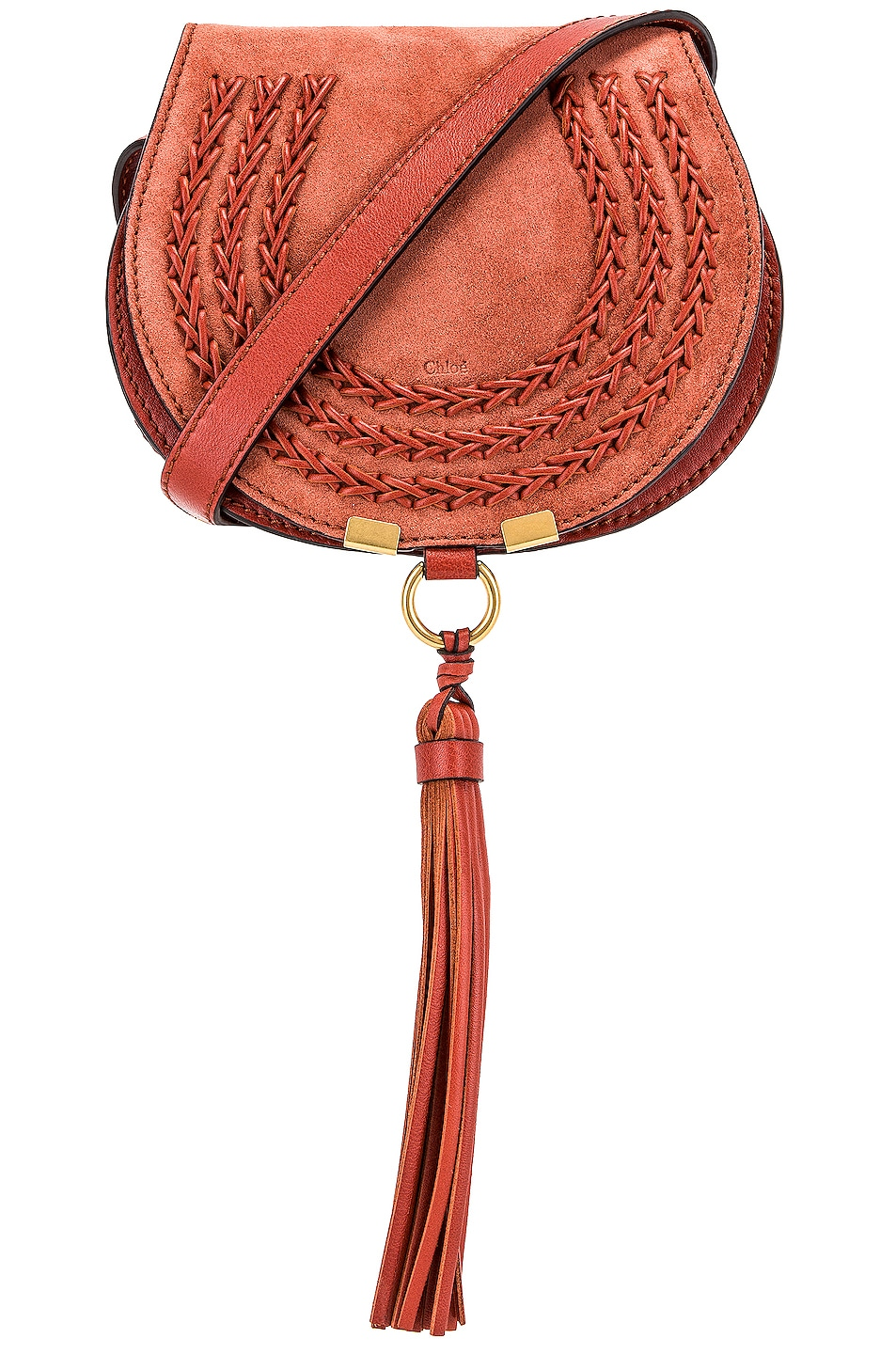 Image 1 of Chloe Small Leather Braid Marcie Satchel in Terracotta Red