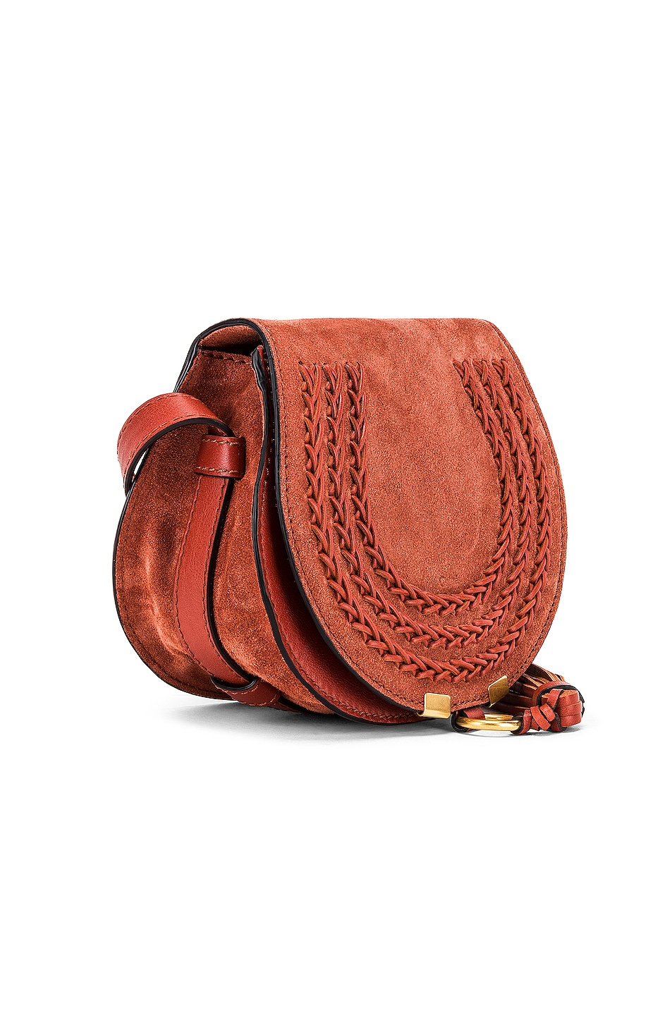 Image 4 of Chloe Small Leather Braid Marcie Satchel in Terracotta Red
