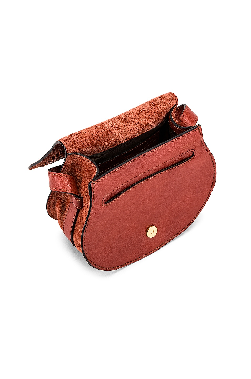 Image 5 of Chloe Small Leather Braid Marcie Satchel in Terracotta Red