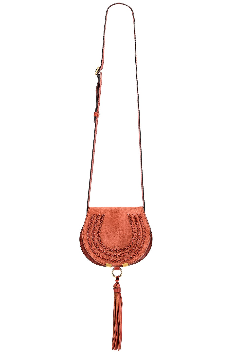Image 6 of Chloe Small Leather Braid Marcie Satchel in Terracotta Red