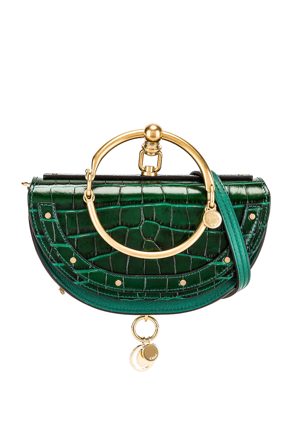 Image 1 of Chloe Small Nile Embossed Minaudiere in Woodsy Green