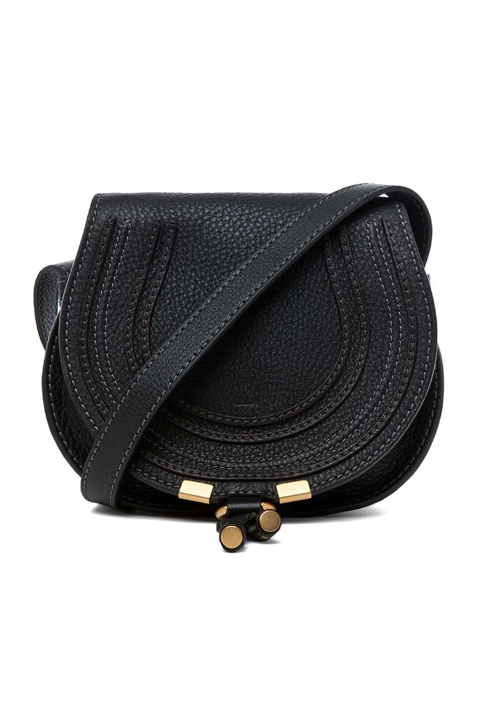 Image 1 of Chloe Small Marcie Grained Calfskin Saddle Bag in Black