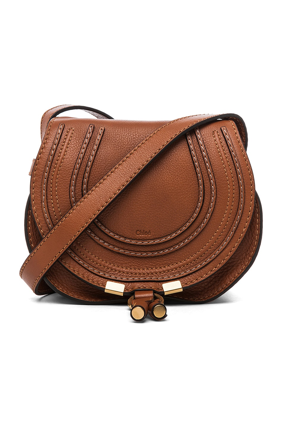Image 1 of Chloe Small Marcie Grained Calfskin Saddle Bag in Tan