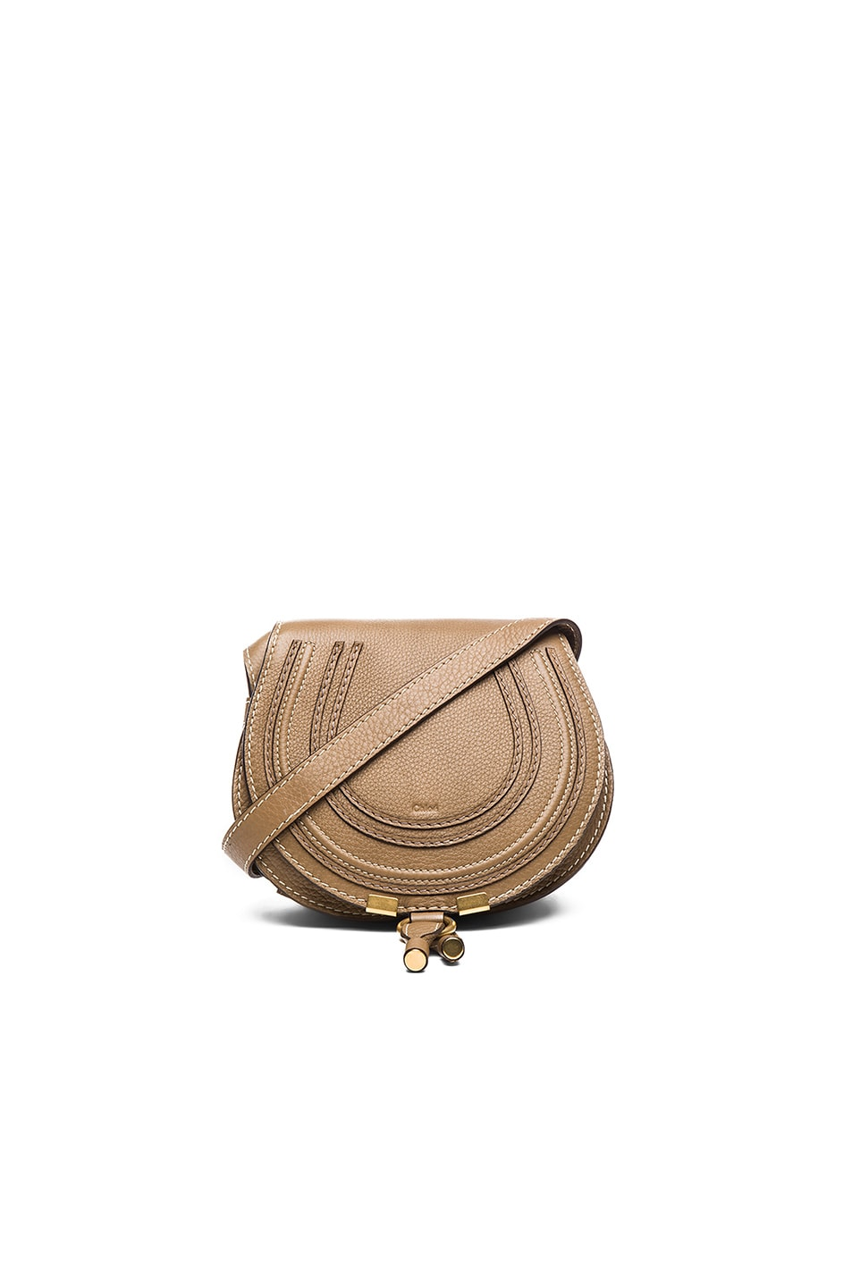 Image 1 of Chloe Small Marcie Grained Calfskin Saddle Bag in Nut