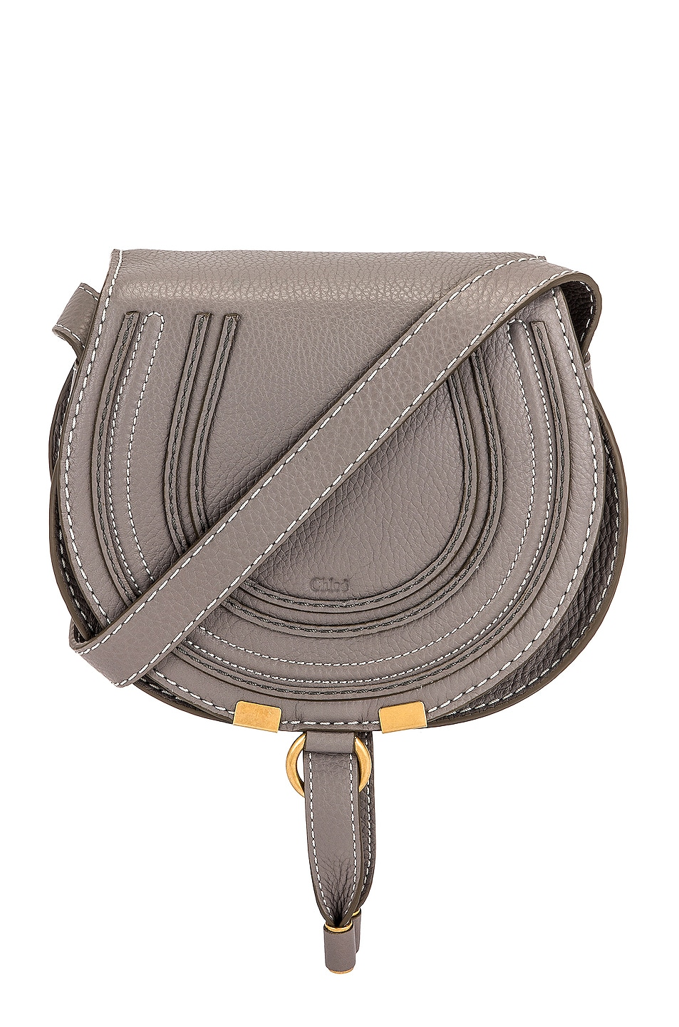 Image 1 of Chloe Small Marcie Grained Calfskin Saddle Bag in Cashmere Grey