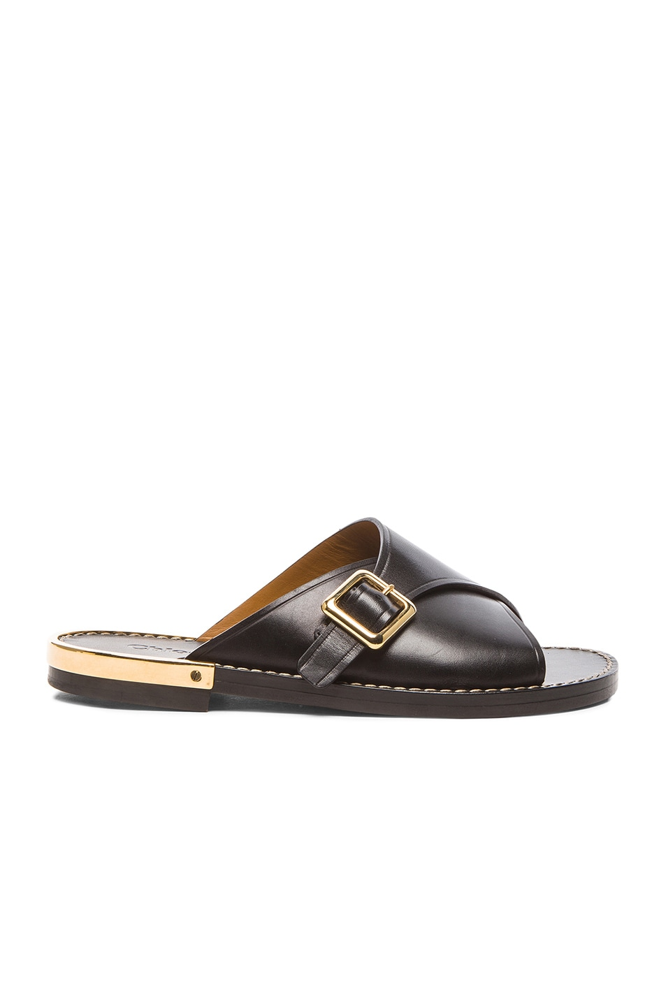Image 1 of Chloe Leather Buckle Sandals in Black