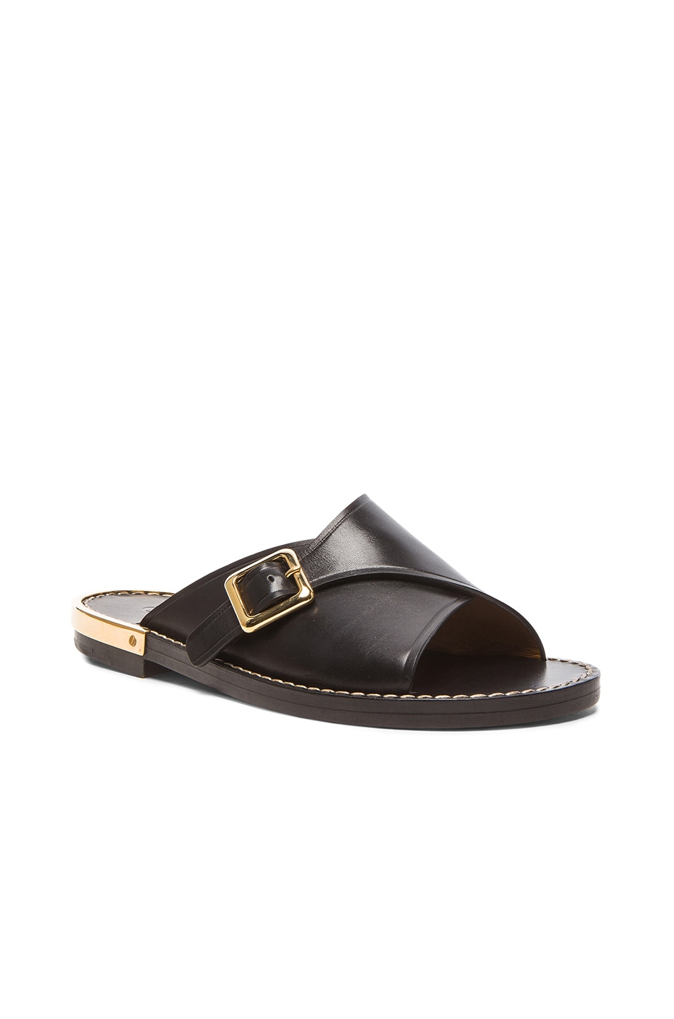 Image 2 of Chloe Leather Buckle Sandals in Black