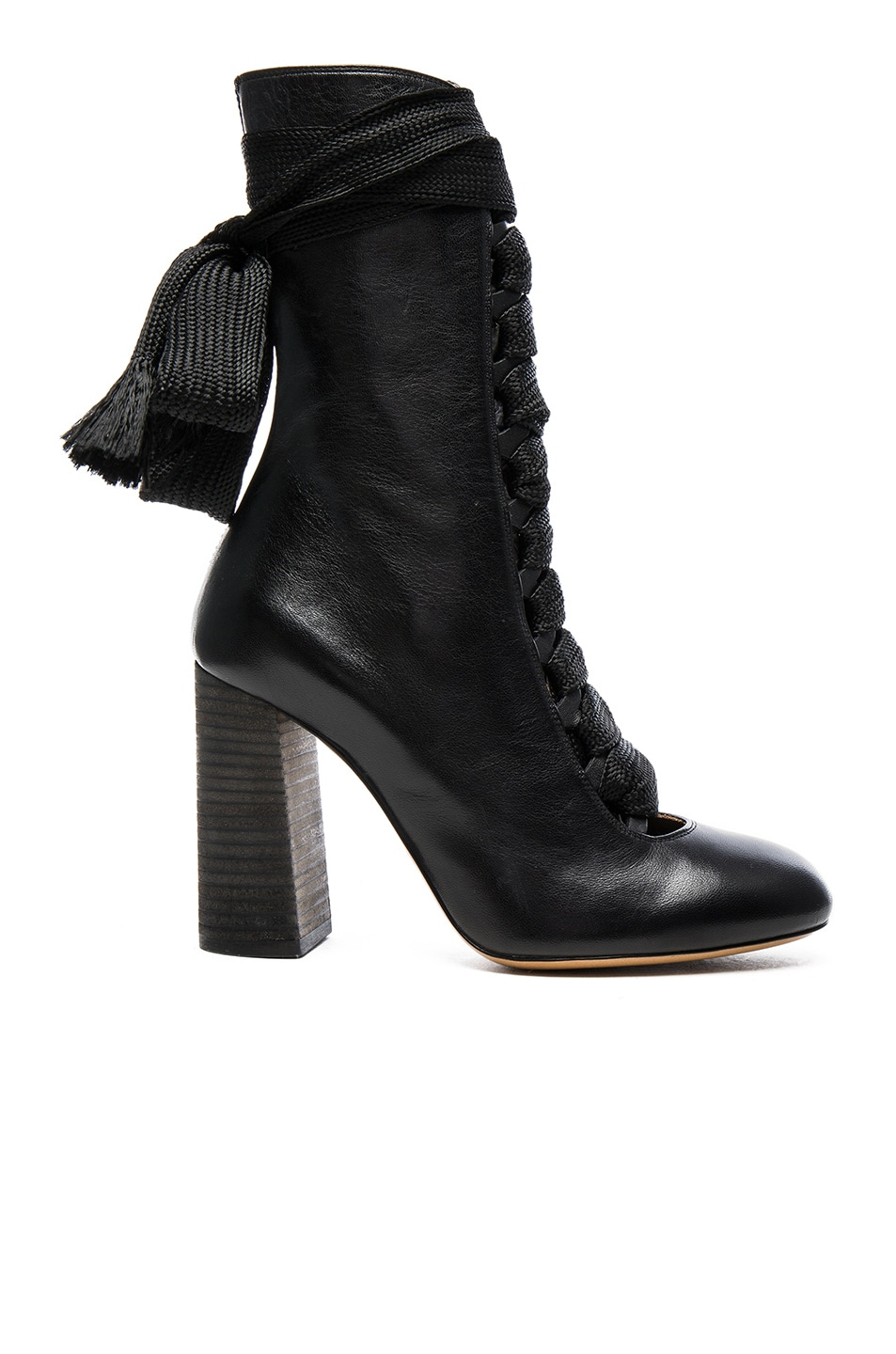 Image 1 of Chloe Lace Up Leather Boots in Black