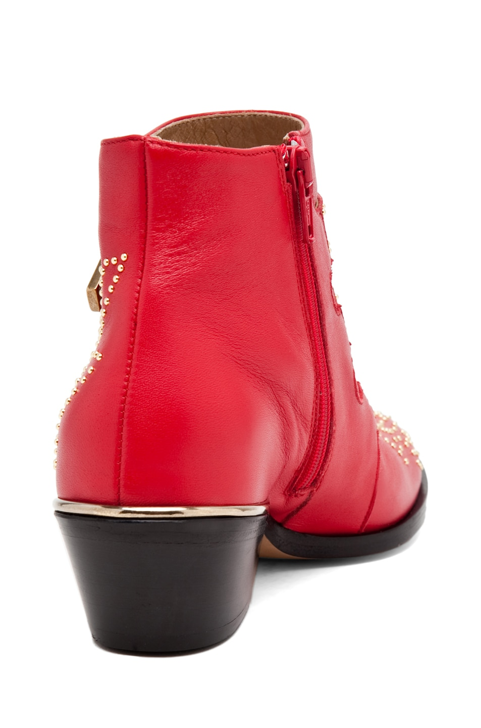 Image 3 of Chloe Susanna Leather Studded Booties in Red