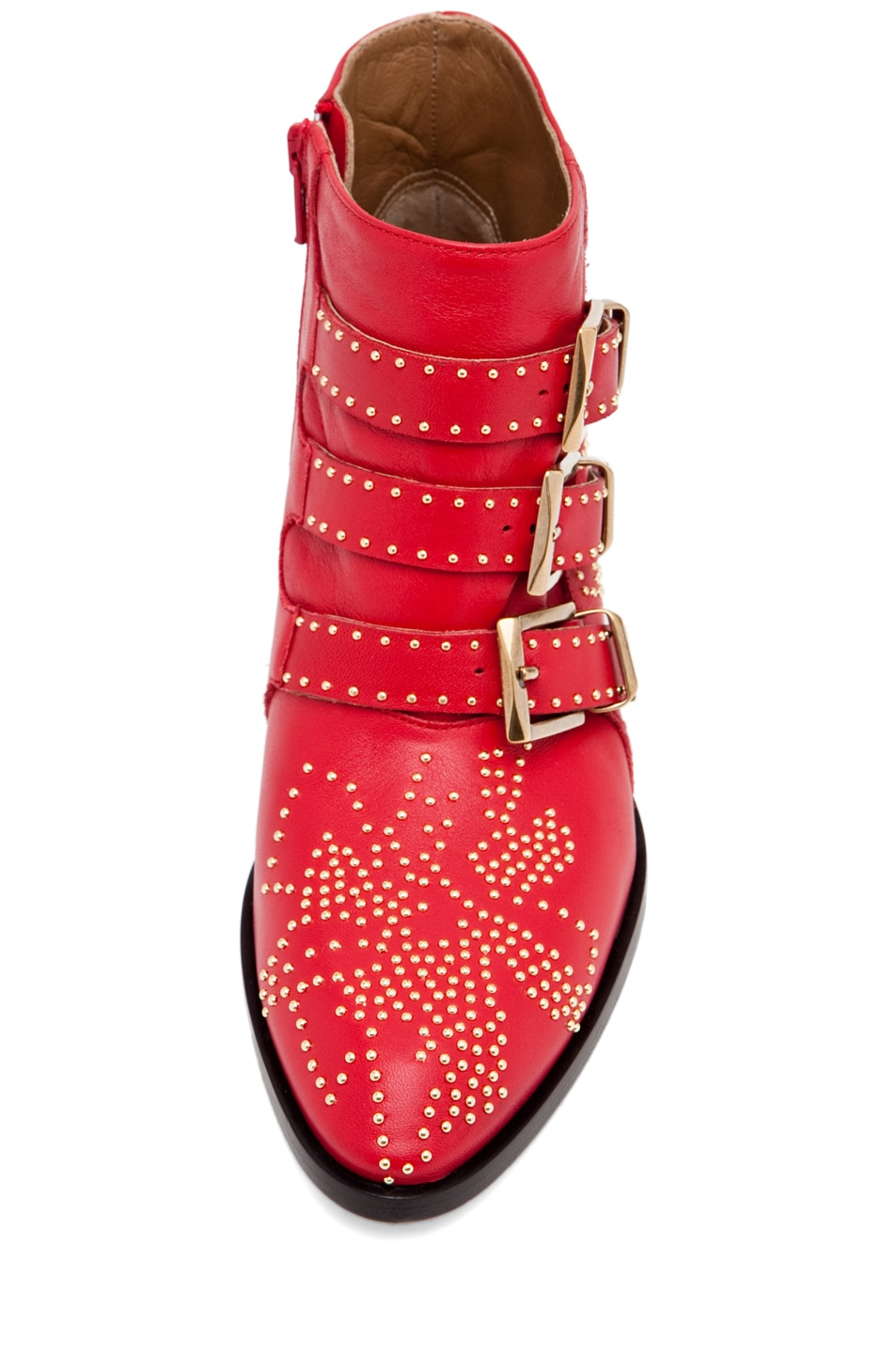 Image 4 of Chloe Susanna Leather Studded Booties in Red