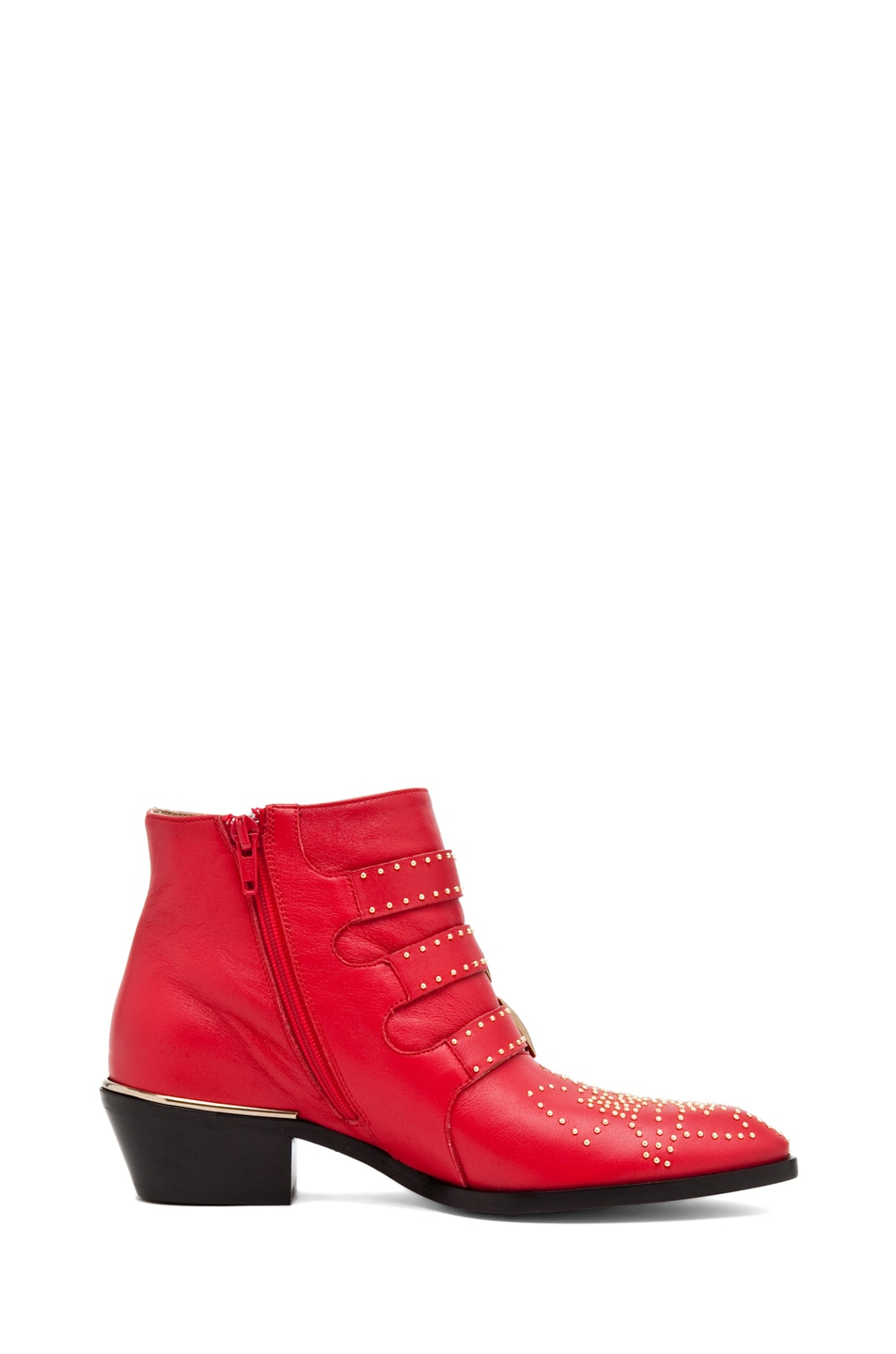 Image 5 of Chloe Susanna Leather Studded Booties in Red