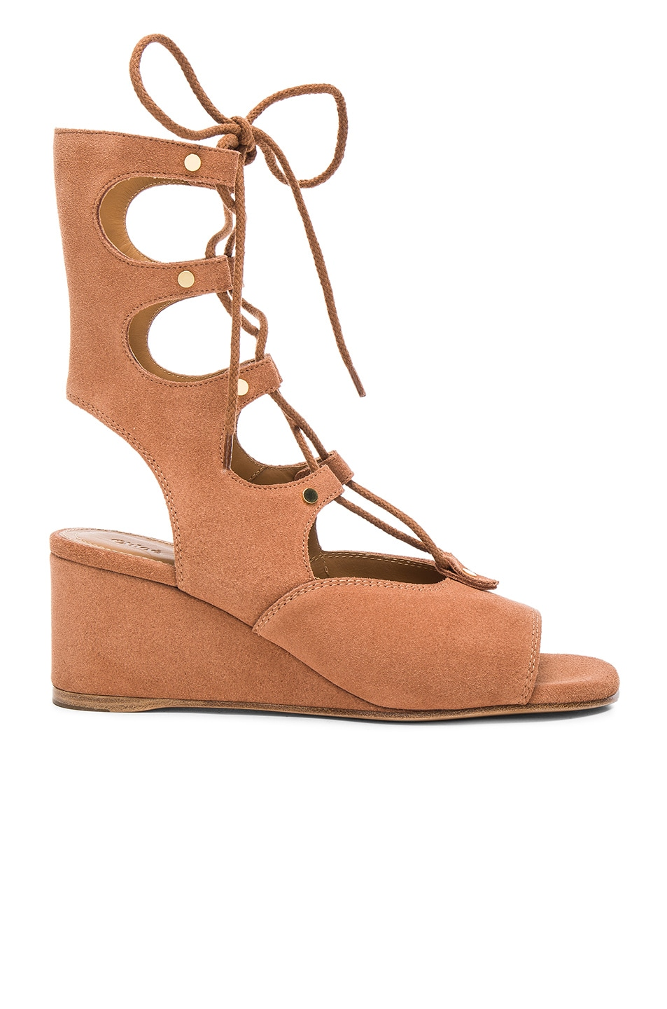 944fbee767bb Image 1 of Chloe Suede Foster Wedge Sandals in Camel