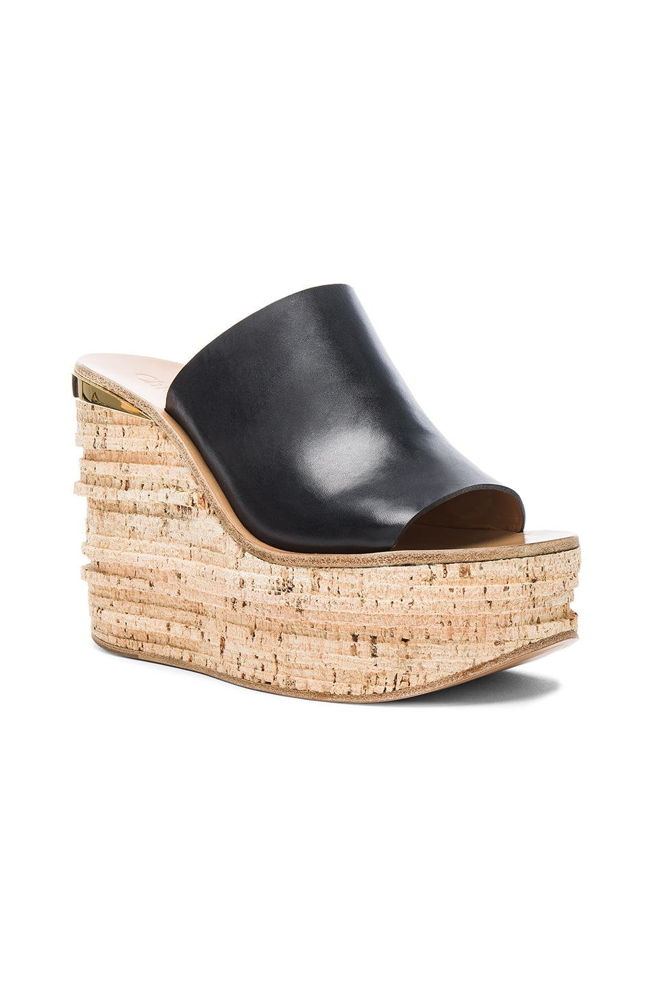 3b78c5696d7a Image 2 of Chloe Camille Leather Wedge Sandals in Black