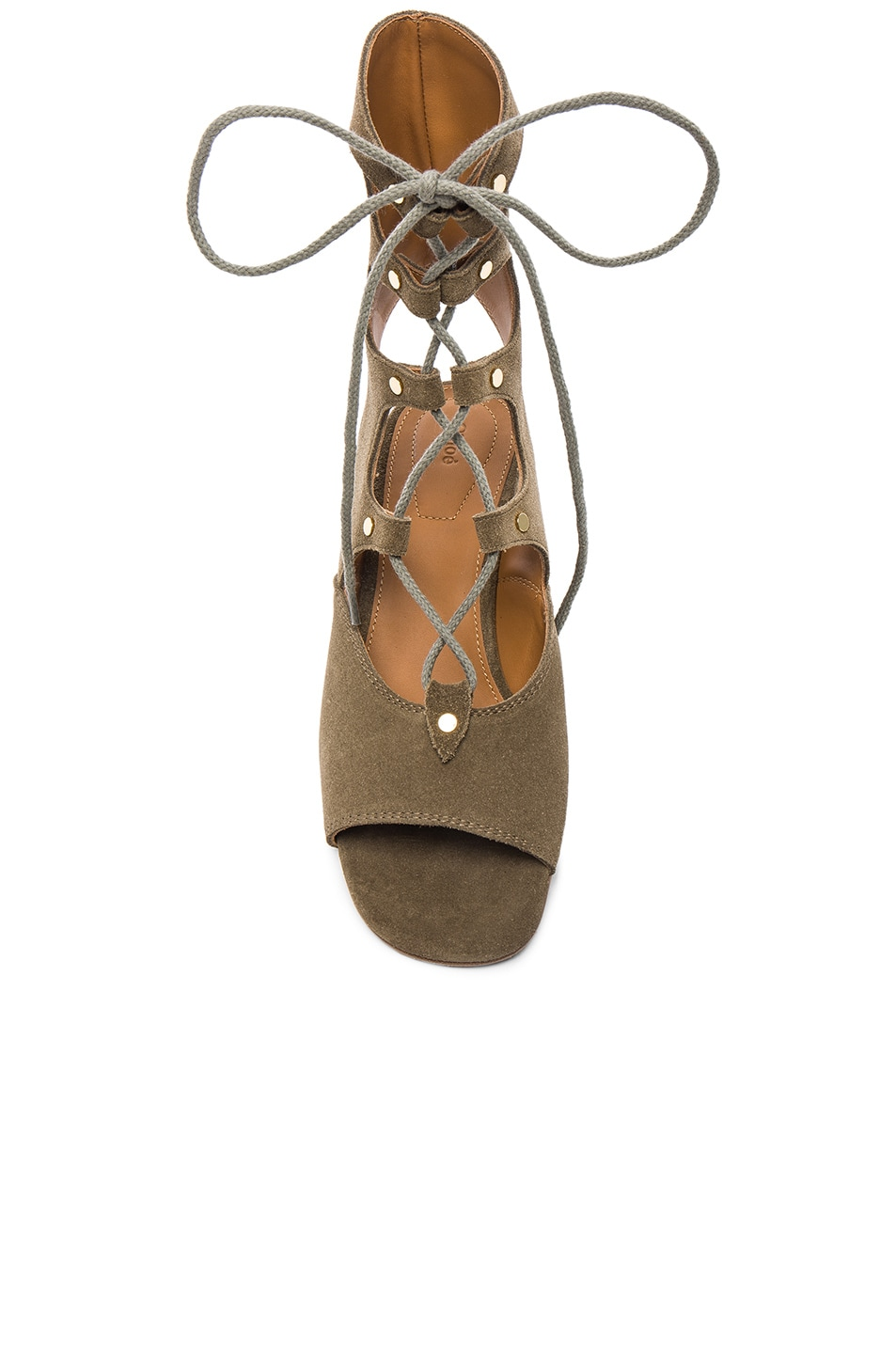 Image 4 of Chloe Foster Suede Wedge Sandals in Military Green
