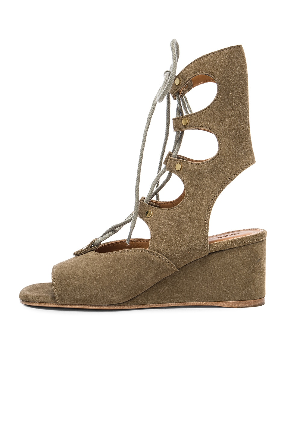Image 5 of Chloe Foster Suede Wedge Sandals in Military Green