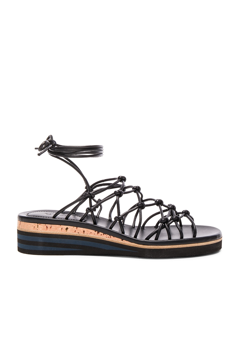 Image 1 of Chloe Leather Net Sandals in Black