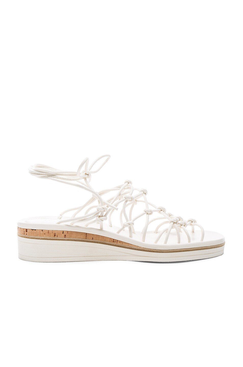 Image 1 of Chloe Leather Net Sandals in White 27d5da23925