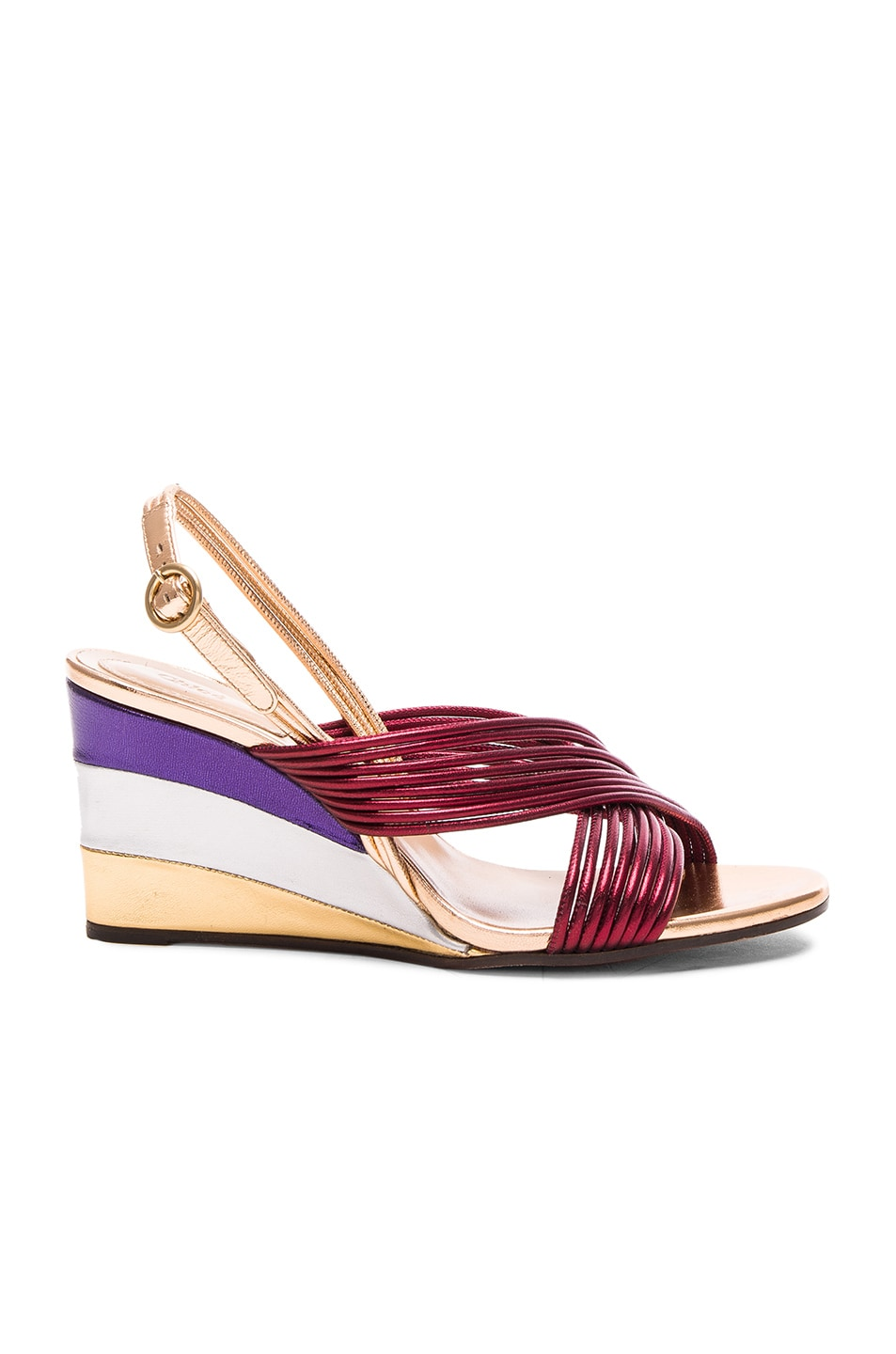 Image 1 of Chloe Leather Rainbow Sandals in Bordeaux Metallic