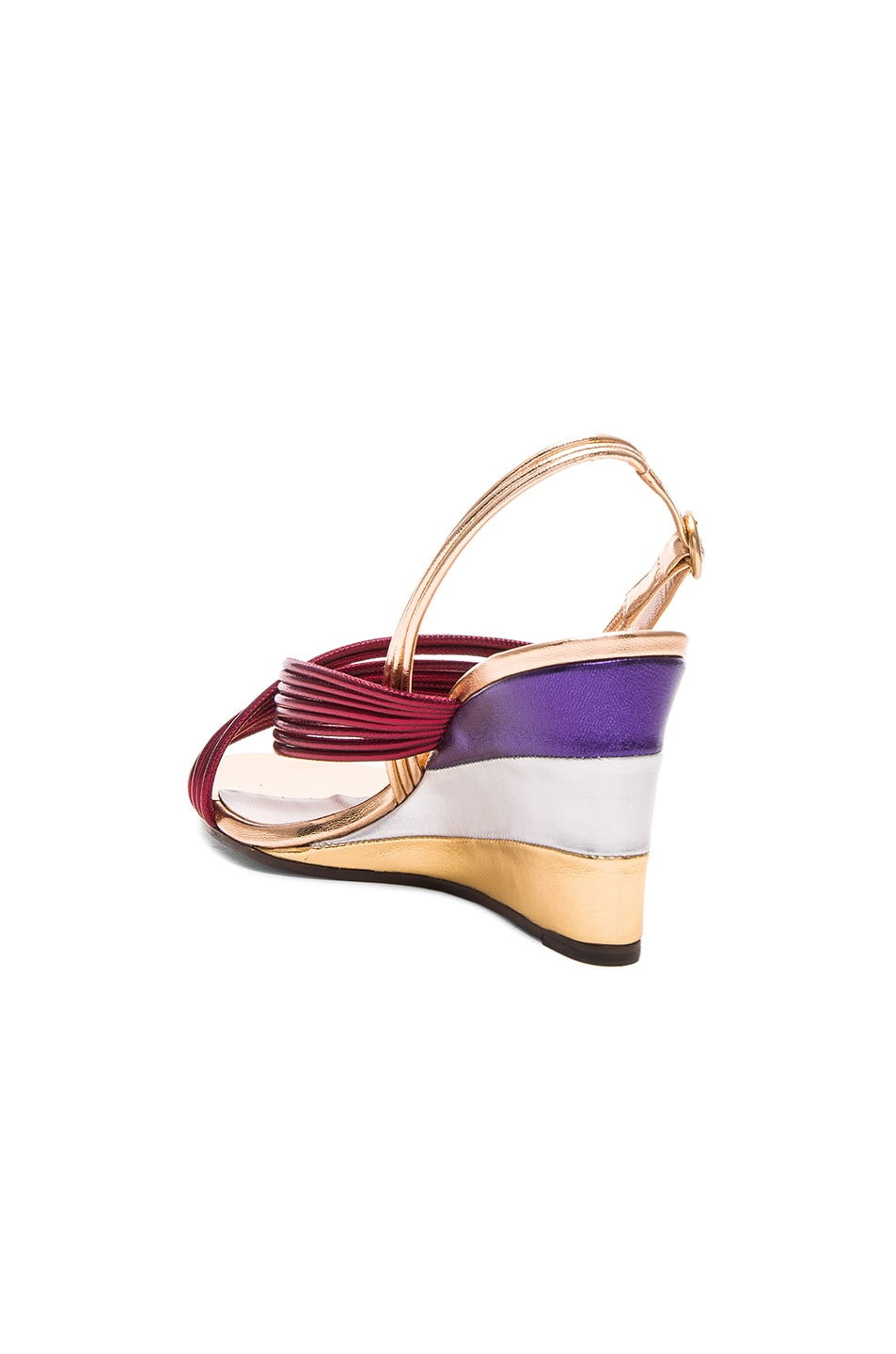 Image 3 of Chloe Leather Rainbow Sandals in Bordeaux Metallic