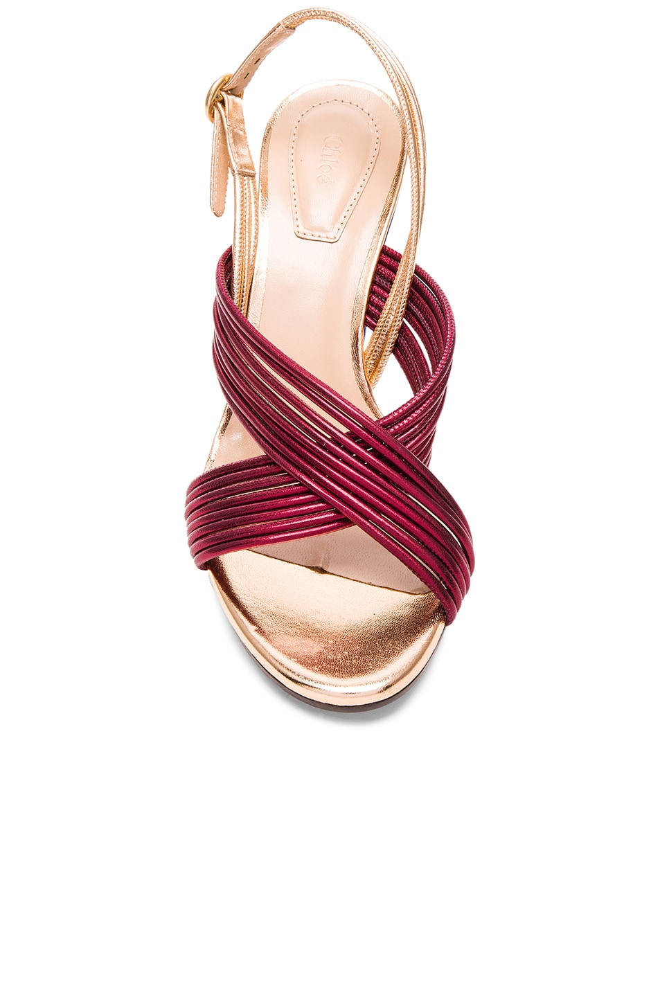 Image 4 of Chloe Leather Rainbow Sandals in Bordeaux Metallic