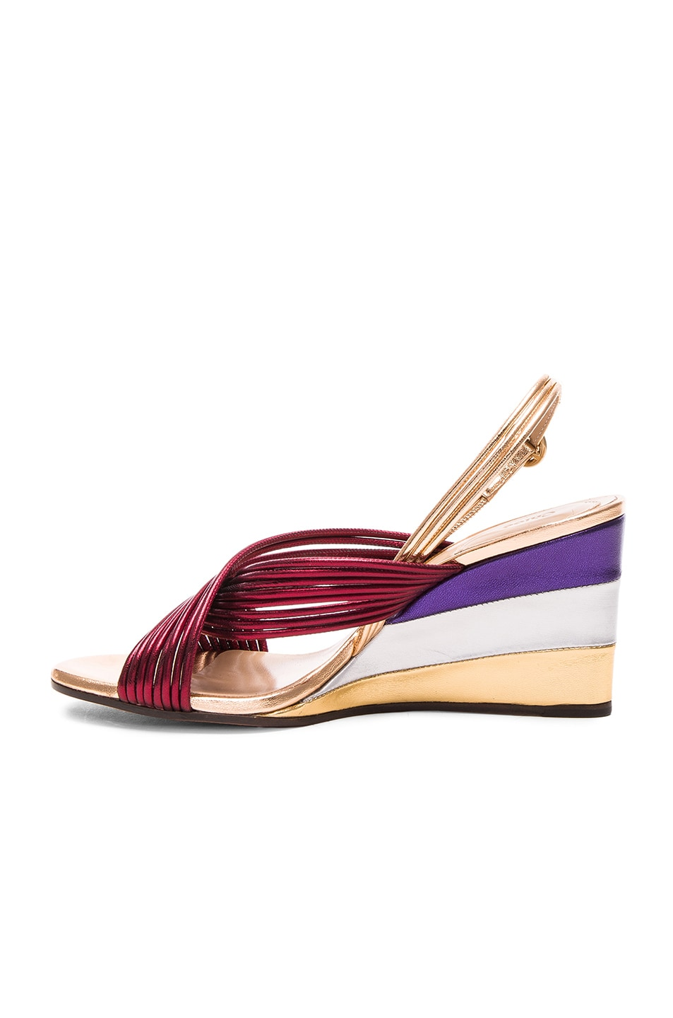 Image 5 of Chloe Leather Rainbow Sandals in Bordeaux Metallic