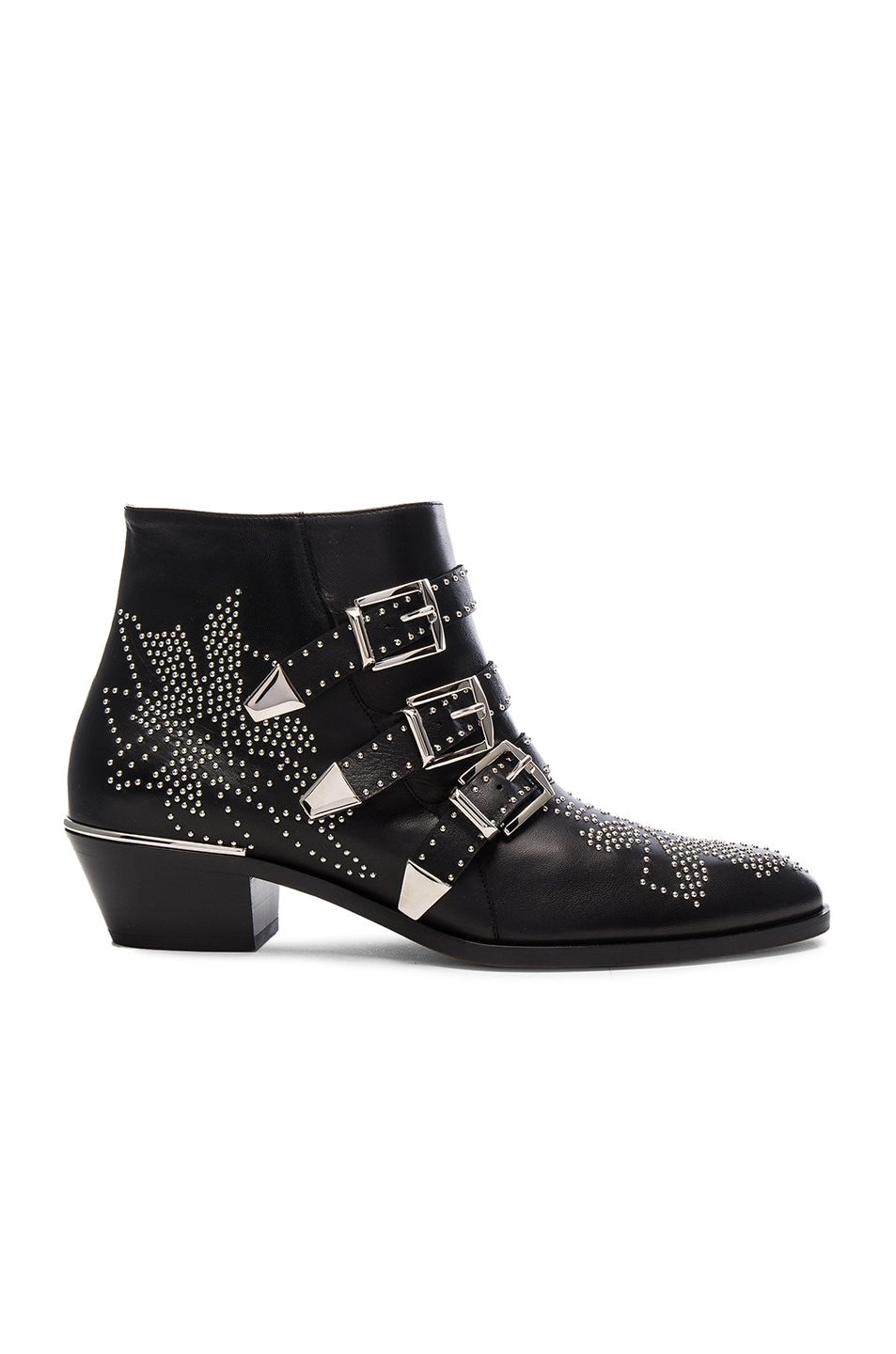 Image 1 of Chloe Susanna Leather Studded Booties in Black & Silver