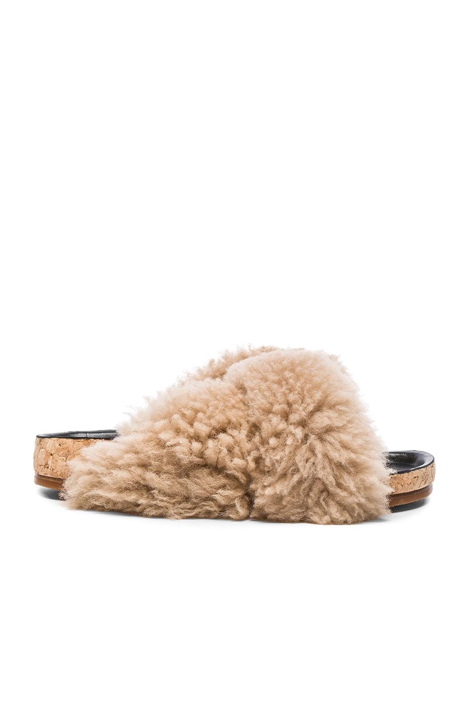 Image 1 of Chloe Kerenn Shearling Fur Sandals in Fawn
